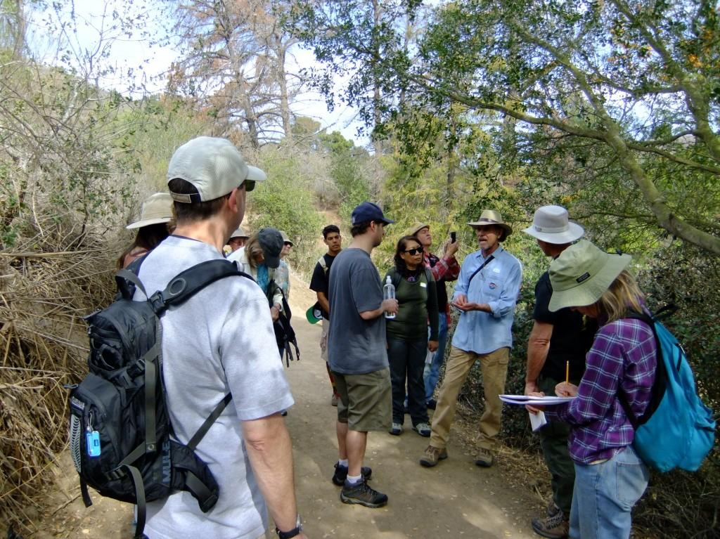 Talking about Coast Live Oak on the trail
