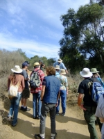 Talking about Prickly Pear on the trail
